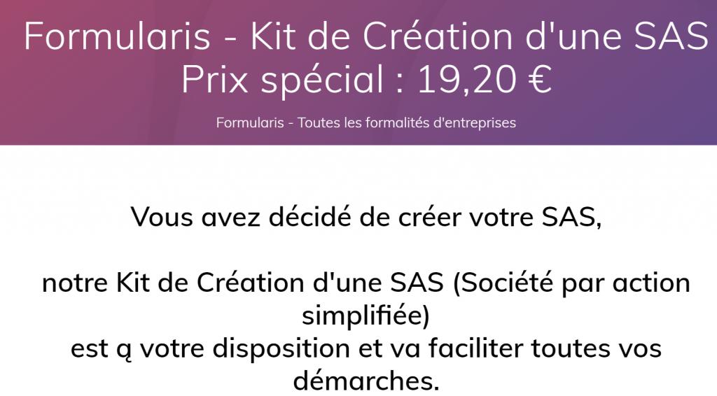 Kit de création d'une SAS