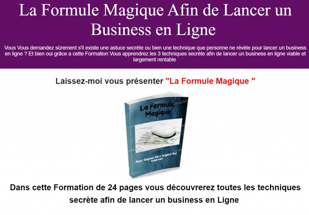 La Formule Magique pour lancer un business