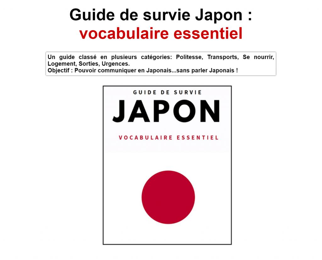 Guide de survie Japon : vocabulaire essentiel