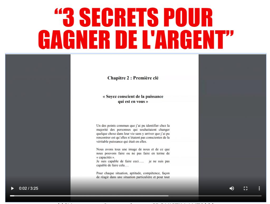LES 3 SECRETS POUR GAGNER DE L'ARGENT