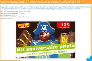 Kit anniversaire à thème : Kolat le Pirate