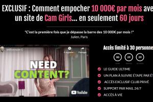 5000E / mois avec un site de Cam Girls