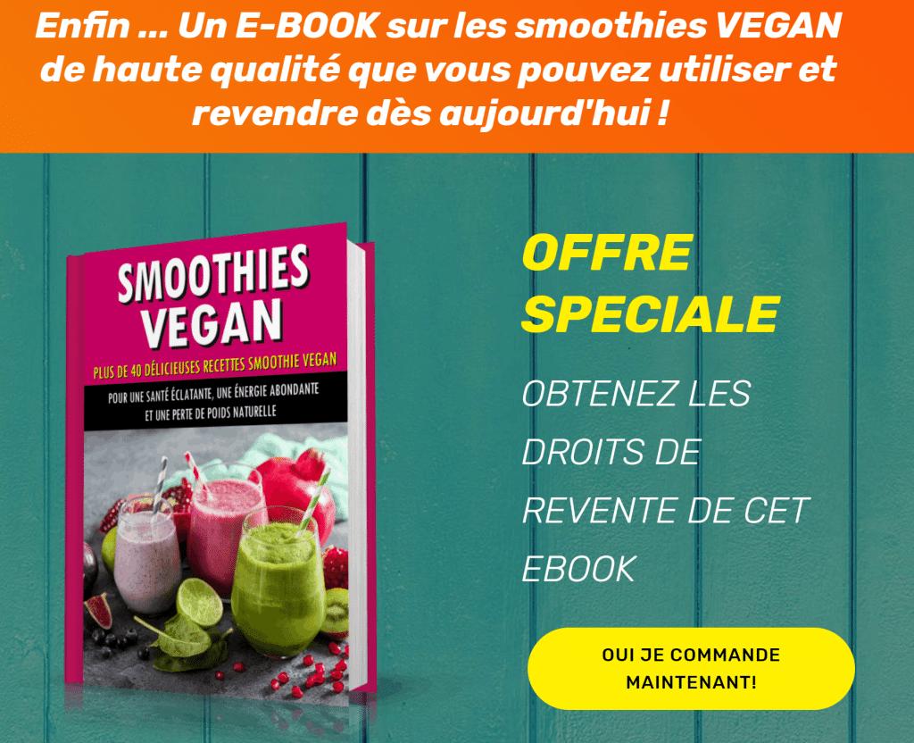Smoothies Vegan ebook avec droits de revente