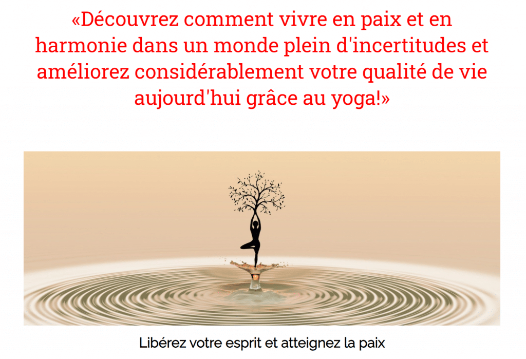 L'apprentissage du Yoga.