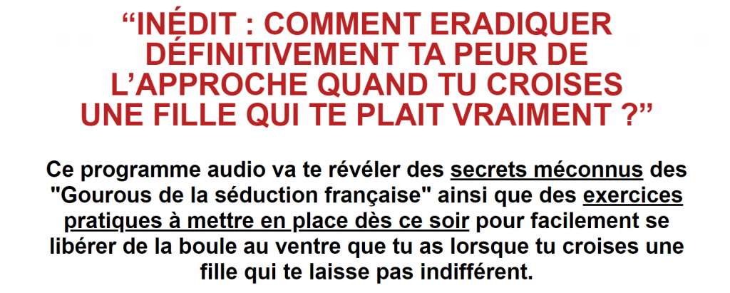ERADIQUER DÉFINITIVEMENT TA PEUR DE L'APPROCHE